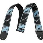 "FENDER - 2"" Monogrammed Strap (Black / Light Grey / Blue)"
