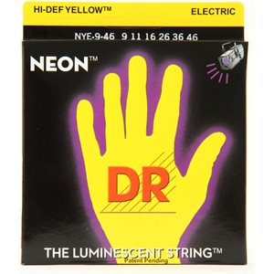 DR - NYE9 - NEON Hi-Def Yellow Coated Electric Strings - 9-42